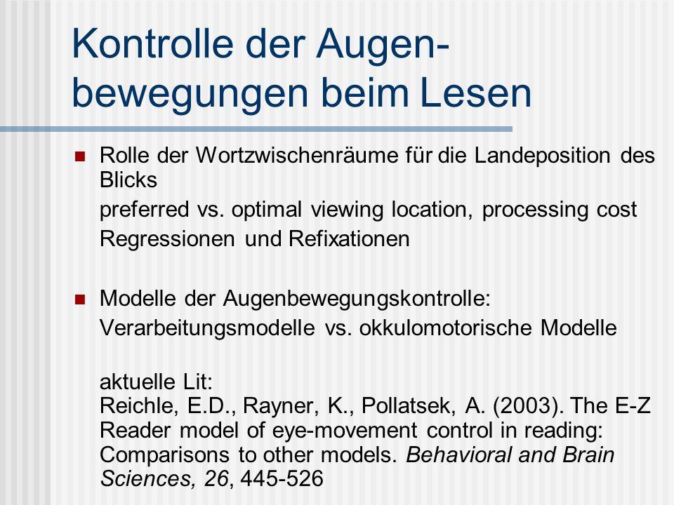 Kontrolle der Augen- bewegungen beim Lesen Rolle der Wortzwischenräume für die Landeposition des Blicks preferred vs. optimal viewing location, proces