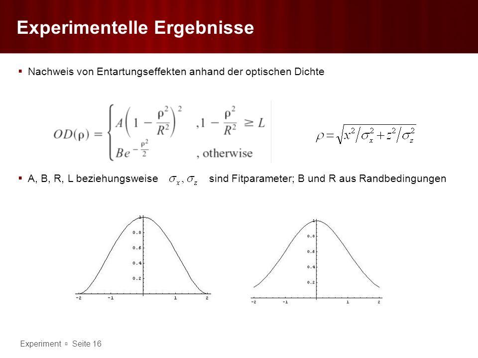 Experiment Seite 16 Experimentelle Ergebnisse Nachweis von Entartungseffekten anhand der optischen Dichte A, B, R, L beziehungsweisesind Fitparameter;
