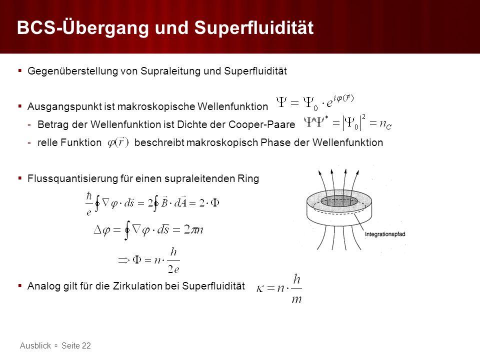 Ausblick Seite 22 BCS-Übergang und Superfluidität Gegenüberstellung von Supraleitung und Superfluidität Ausgangspunkt ist makroskopische Wellenfunktio