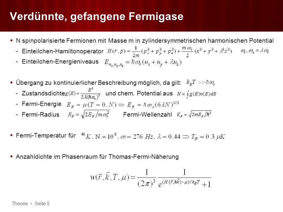 Theorie Seite 6 Verdünnte, gefangene Fermigase Integration über Impulsraum ergibt räumliche Verteilung Analytische Auswertung des Integrals nur für T=0 möglich -Wolke umfasst Ellipsoid mit Durchmesser in der x-y-Ebene und entlang der z-Achse Analog ergibt Integration über Ortsraum die Impulsverteilung (für T=0) -Impulsverteilung isotrop unabhängig vom Fallenpotential mit effektiver Radius