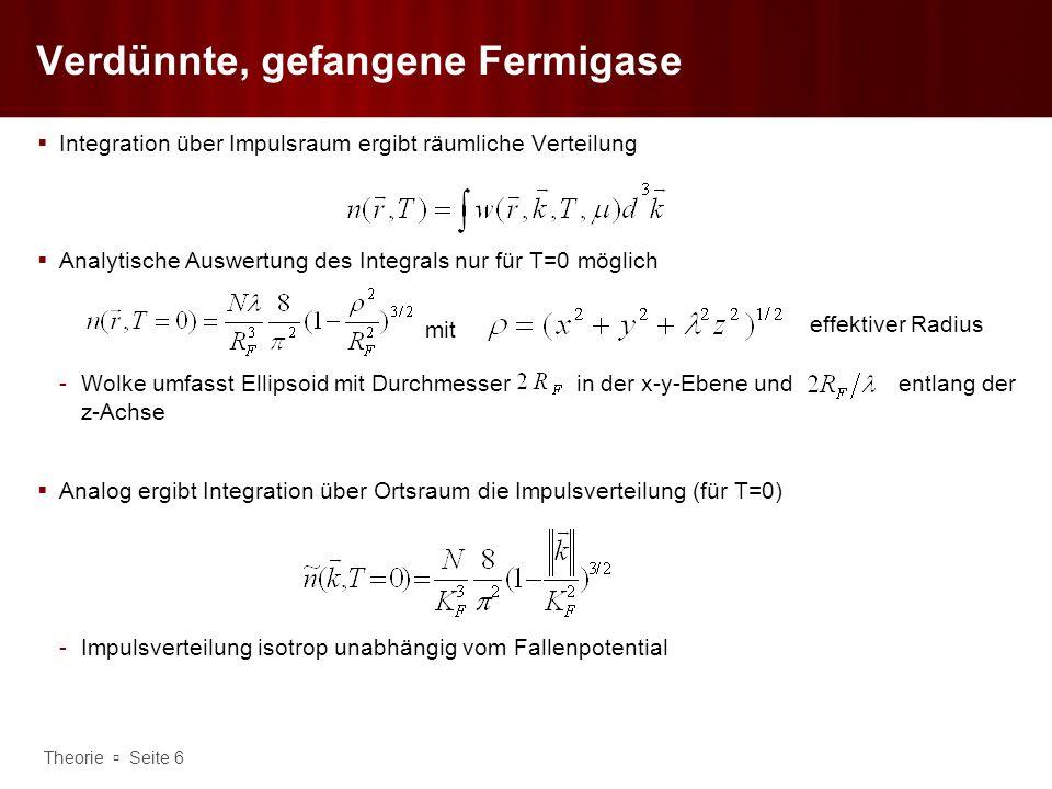 Theorie Seite 7 Verdünnte, gefangene Fermigase Räumliche Dichteverteilung für klassisches Ergebnis ist gegeben durch Gaußkurve, beschreibt akkurat numerischem Ergebnis für sukzessiver Übergang vom klassischen in entarteten Grenzfall im Gegensatz zur Bose-Einstein- Kondensation