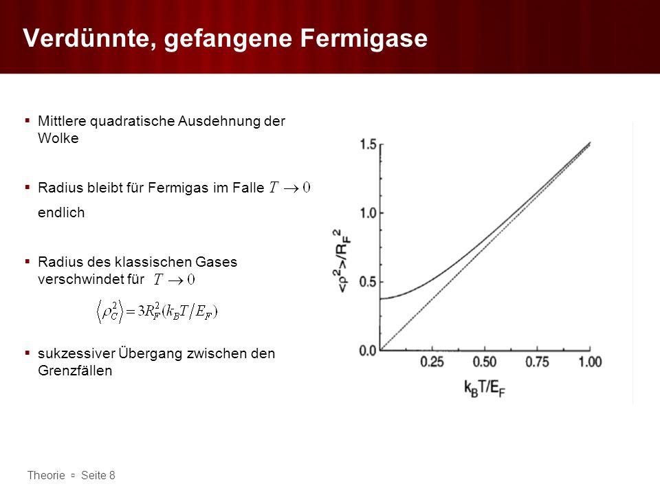 Theorie Seite 9 Wechselwirkung identischer Fermionen Antisymmetrie des Zustandes hat gravierende Folgen für WW identischer Fermionen für kleine T Betrachtung von Stößen zwischen spinpolarisierten Fermionen Gesamtwellenfunktionzweier Fermionen beim Stoß lässt sich Bahnanteil in Relativkoordiaten und Spinanteil separieren Im spinpolarisierten Zustand gilt,d.h.muss antisymmetrisch sein Teilchenvertauschung führt zu Vorzeichenänderung des Abstandsvektors