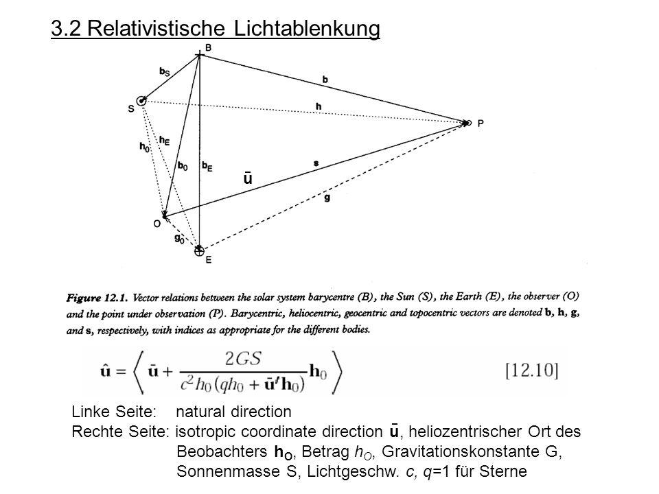 3.2 Relativistische Lichtablenkung Linke Seite: natural direction Rechte Seite: isotropic coordinate direction u, heliozentrischer Ort des Beobachters