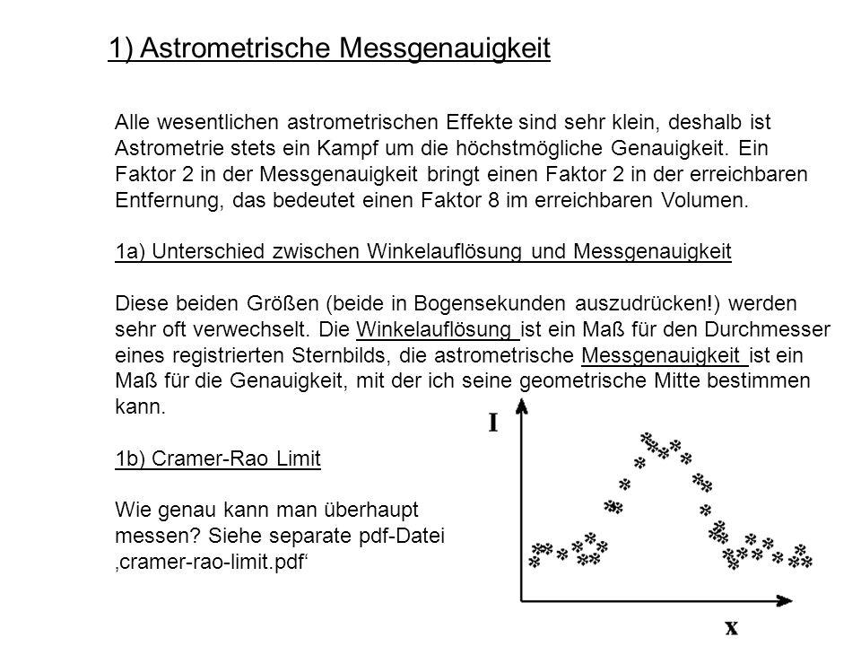1) Astrometrische Messgenauigkeit Alle wesentlichen astrometrischen Effekte sind sehr klein, deshalb ist Astrometrie stets ein Kampf um die höchstmögl