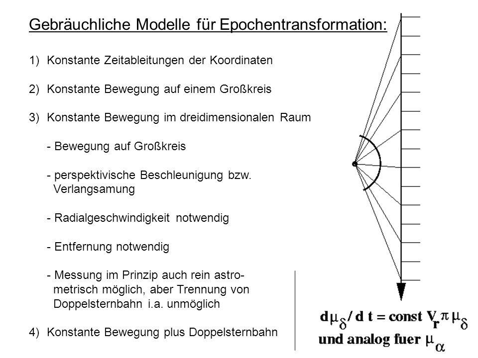 Definition 1: Astrometrische Parameter, Bedeutung Die 5 astrometrischen Parameter (2 Koordinaten, 2 Eigenbew.-Komponenten, Parallaxe) eines Sterns im Hipparcos-Katalog beschreiben seine Bewegung relativ zum Massenzentrum (Baryzentrum) des Sonnensystems - in einer Ebene, die senkrecht zur Blickrichtung liegt.