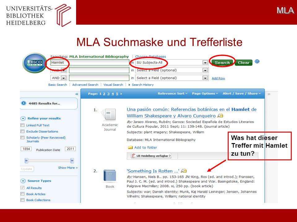 MLA Suchmaske und Trefferliste MLA Was hat dieser Treffer mit Hamlet zu tun?