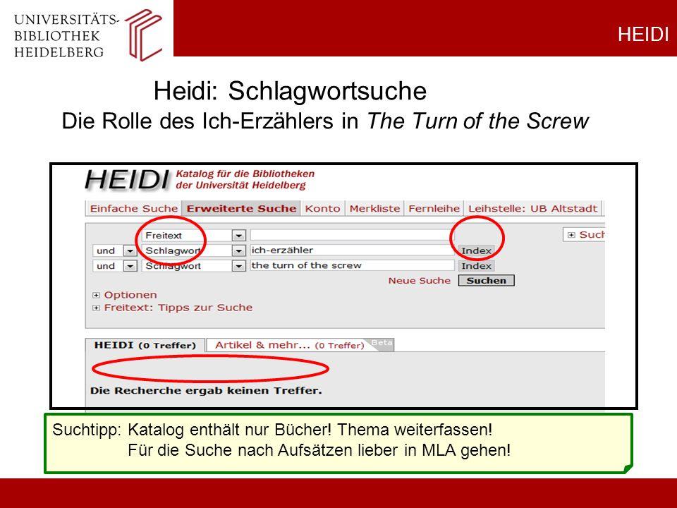HEIDI Heidi: Schlagwortsuche Die Rolle des Ich-Erzählers in The Turn of the Screw Suchtipp: Katalog enthält nur Bücher! Thema weiterfassen! Für die Su
