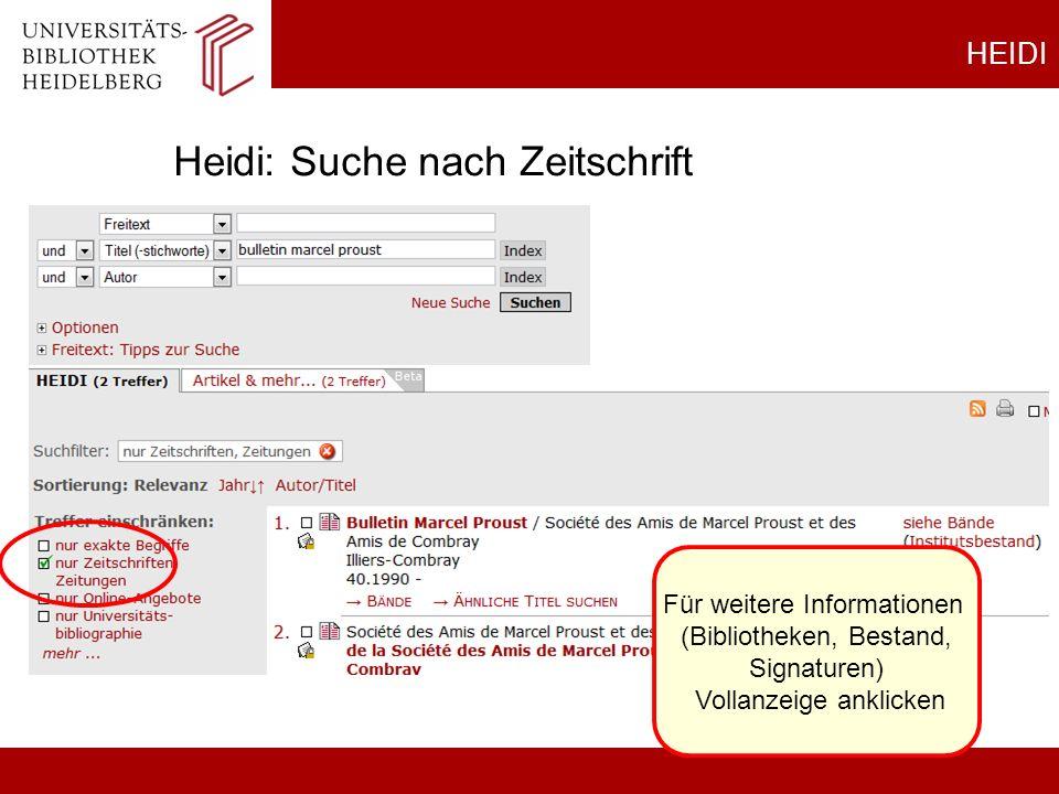 HEIDI Heidi: Suche nach Zeitschrift Für weitere Informationen (Bibliotheken, Bestand, Signaturen) Vollanzeige anklicken