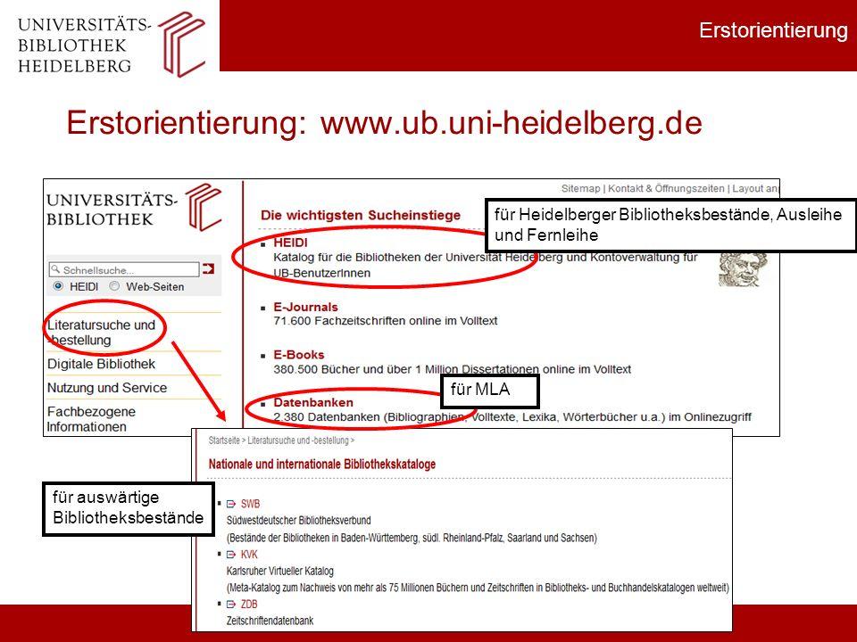 Erstorientierung Erstorientierung: www.ub.uni-heidelberg.de für auswärtige Bibliotheksbestände für Heidelberger Bibliotheksbestände, Ausleihe und Fern