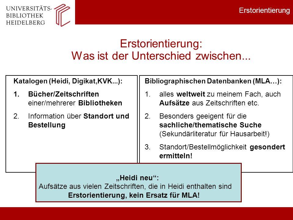 Bibliographischen Datenbanken (MLA…): 1.alles weltweit zu meinem Fach, auch Aufsätze aus Zeitschriften etc. 2.Besonders geeigent für die sachliche/the