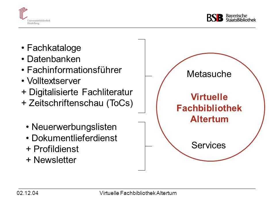 02.12.04Virtuelle Fachbibliothek Altertum Virtuelle Fachbibliothek Altertum Fachkataloge Datenbanken Fachinformationsführer Volltextserver + Digitalis
