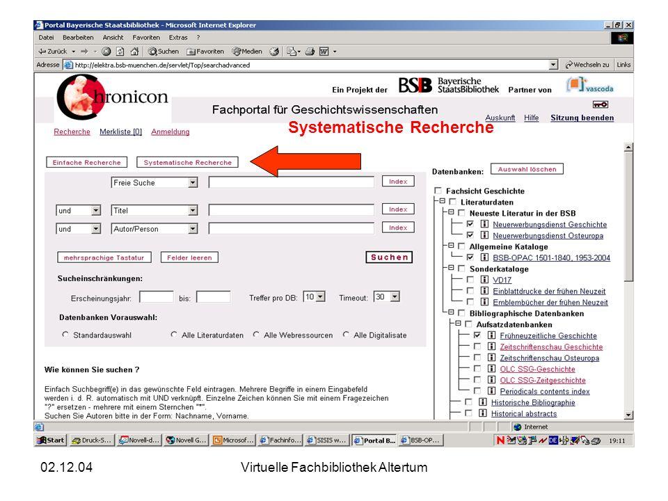 02.12.04Virtuelle Fachbibliothek Altertum Systematische Recherche
