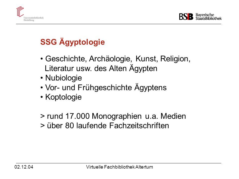 02.12.04Virtuelle Fachbibliothek Altertum SSG-Dienstleistungen: Fachkataloge