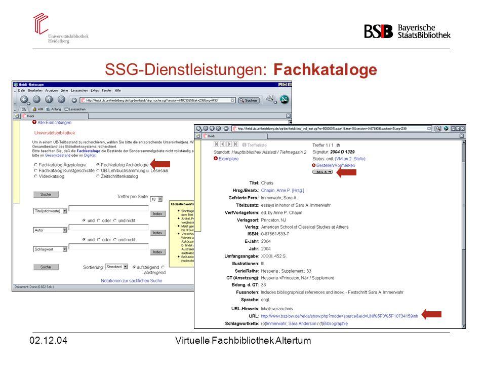 02.12.04Virtuelle Fachbibliothek Altertum SSG-Dienstleistungen: Neuerwerbungslisten