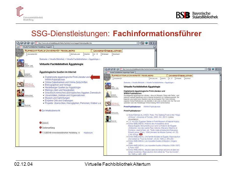 02.12.04Virtuelle Fachbibliothek Altertum SSG-Dienstleistungen: OLC-SSG Altertum