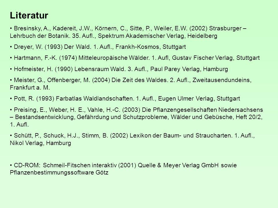 Literatur Bresinsky, A., Kadereit, J.W., Körnern, C., Sitte, P., Weiler, E.W.