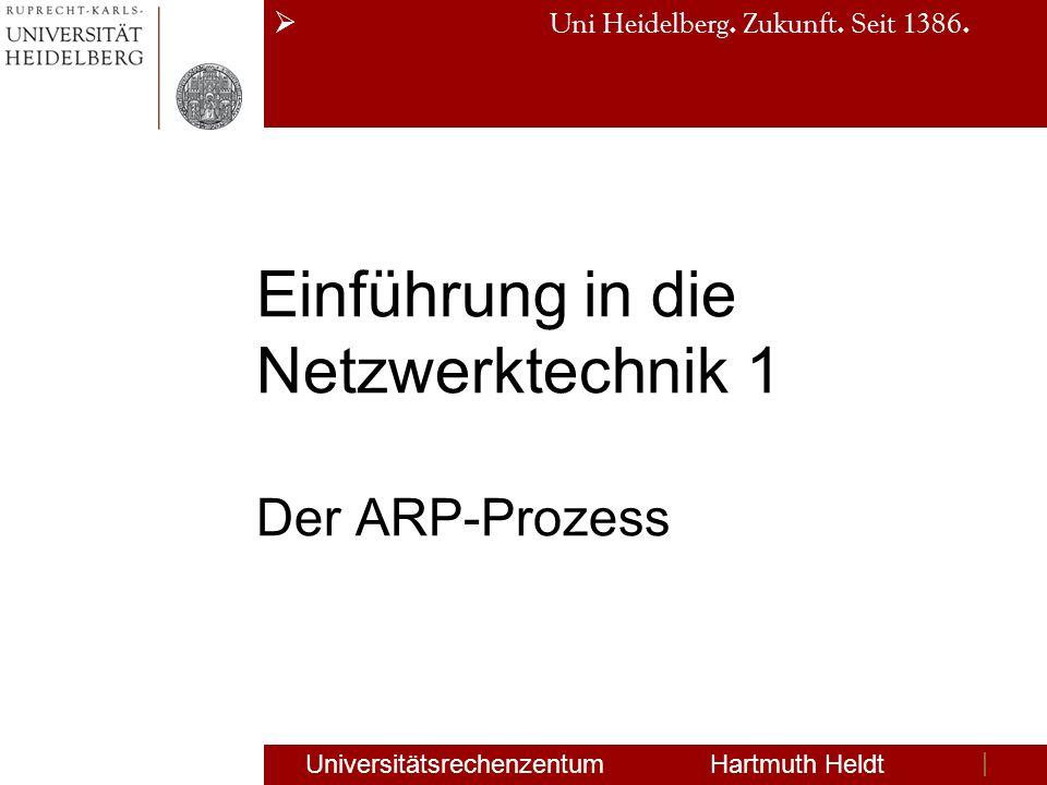 Uni Heidelberg. Zukunft. Seit 1386. Einführung in die Netzwerktechnik 1 Der ARP-Prozess Universitätsrechenzentum Hartmuth Heldt