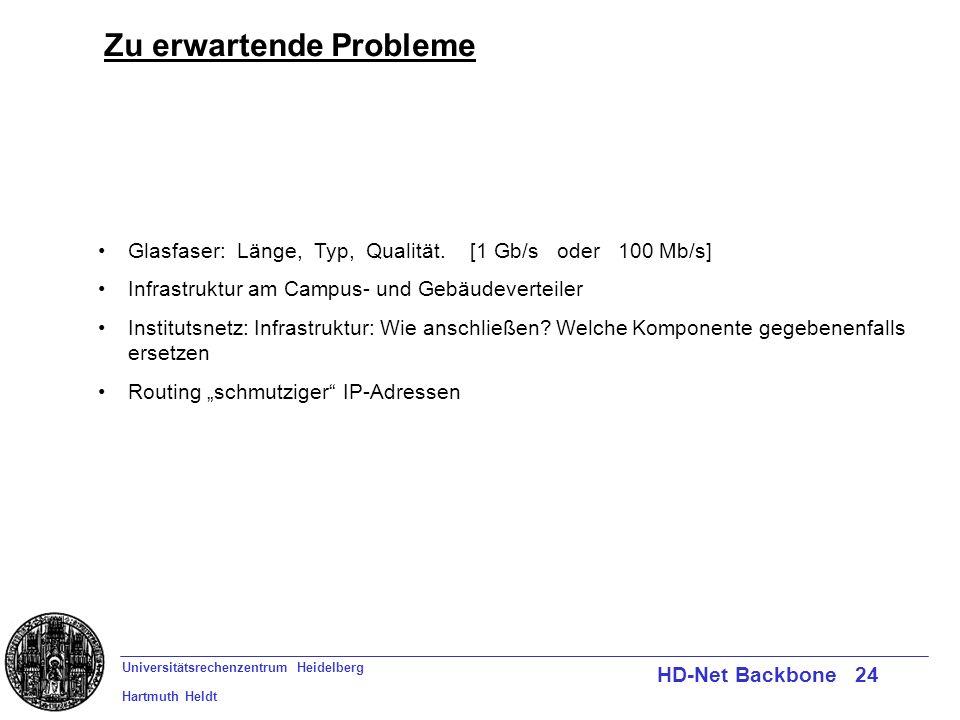 Universitätsrechenzentrum Heidelberg Hartmuth Heldt HD-Net Backbone 24 Zu erwartende Probleme Glasfaser: Länge, Typ, Qualität. [1 Gb/s oder 100 Mb/s]
