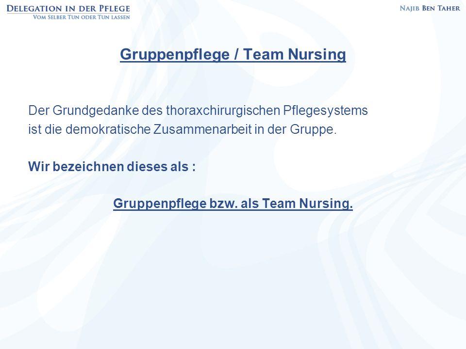 Gruppenpflege / Team Nursing Der Grundgedanke des thoraxchirurgischen Pflegesystems ist die demokratische Zusammenarbeit in der Gruppe. Wir bezeichnen