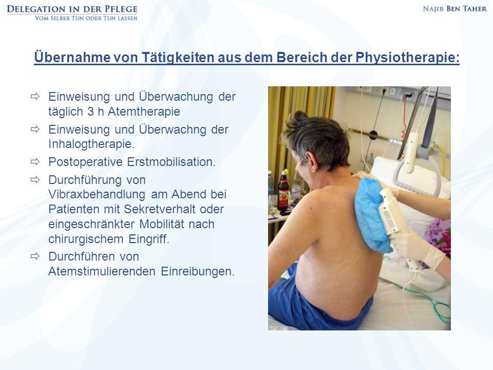 Übernahme von Tätigkeiten aus dem Bereich der Physiotherapie: Einweisung und Überwachung der täglich 3 h Atemtherapie Einweisung und Überwachng der In
