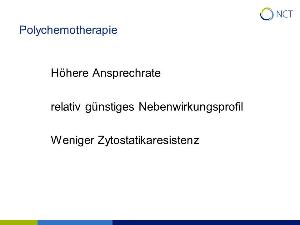 Polychemotherapie Höhere Ansprechrate relativ günstiges Nebenwirkungsprofil Weniger Zytostatikaresistenz