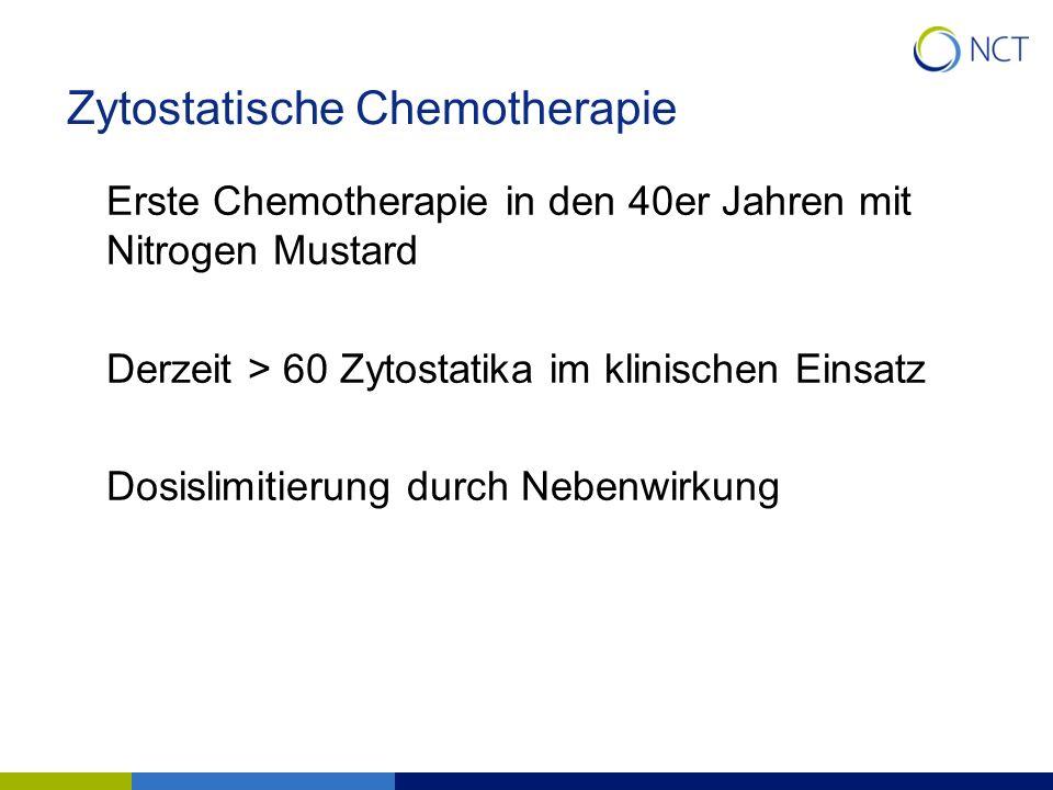 Zytostatische Chemotherapie Erste Chemotherapie in den 40er Jahren mit Nitrogen Mustard Derzeit > 60 Zytostatika im klinischen Einsatz Dosislimitierun