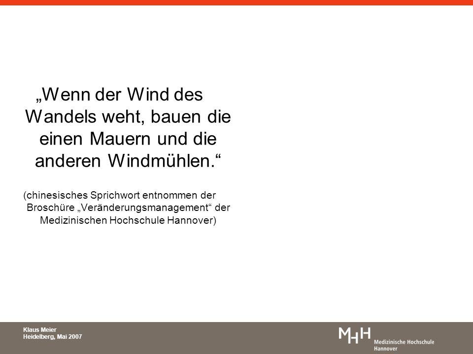 Wenn der Wind des Wandels weht, bauen die einen Mauern und die anderen Windmühlen. (chinesisches Sprichwort entnommen der Broschüre Veränderungsmanage