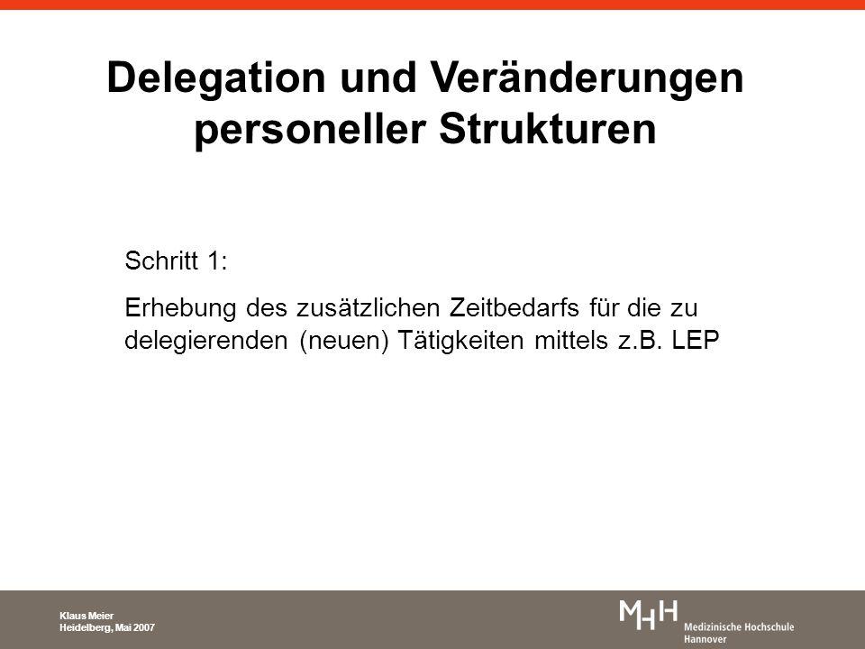 Delegation und Veränderungen personeller Strukturen Schritt 1: Erhebung des zusätzlichen Zeitbedarfs für die zu delegierenden (neuen) Tätigkeiten mitt