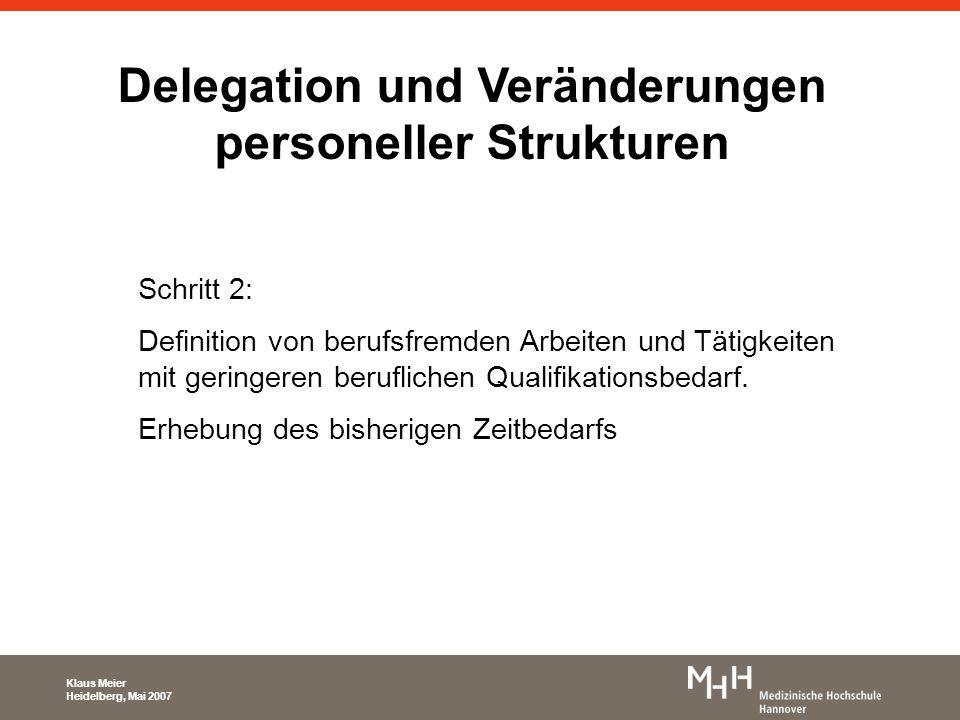 Delegation und Veränderungen personeller Strukturen Schritt 3: Einstellung von Personal mit anderer Qualifikation (und Vergütung) KPH´s Servicekräfte Erstellung eines Tätigkeitskatalogs Klaus Meier Heidelberg, Mai 2007