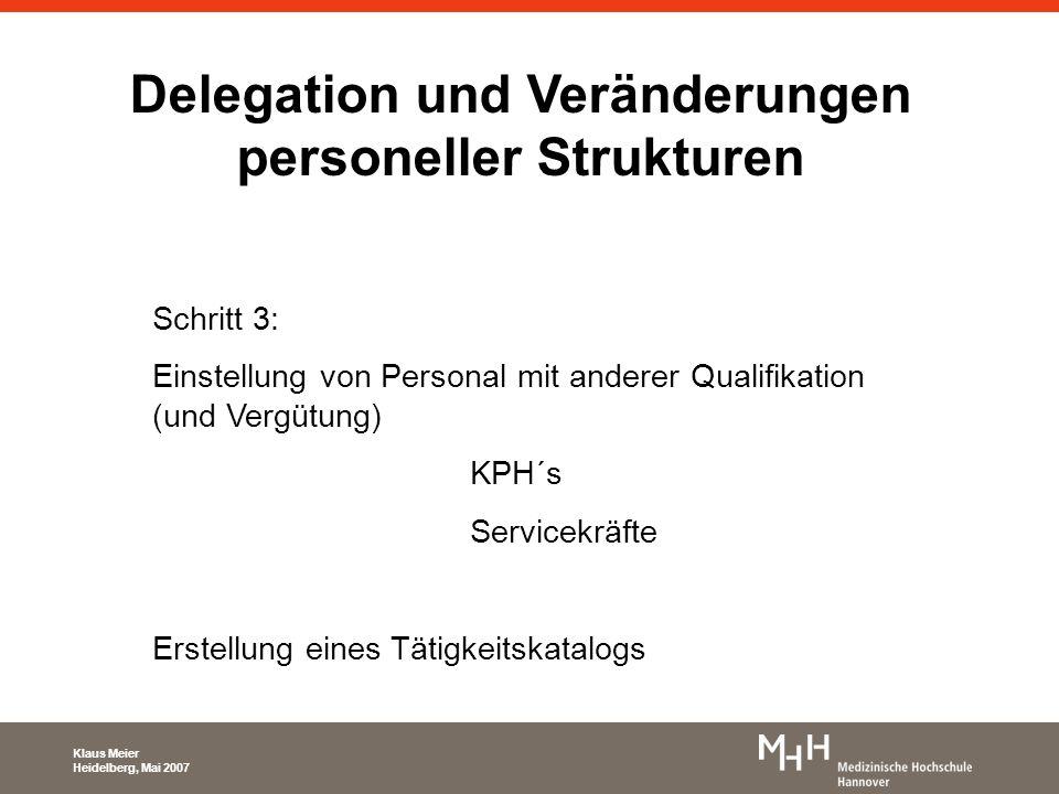 Delegation und Veränderungen personeller Strukturen Schritt 3: Einstellung von Personal mit anderer Qualifikation (und Vergütung) KPH´s Servicekräfte