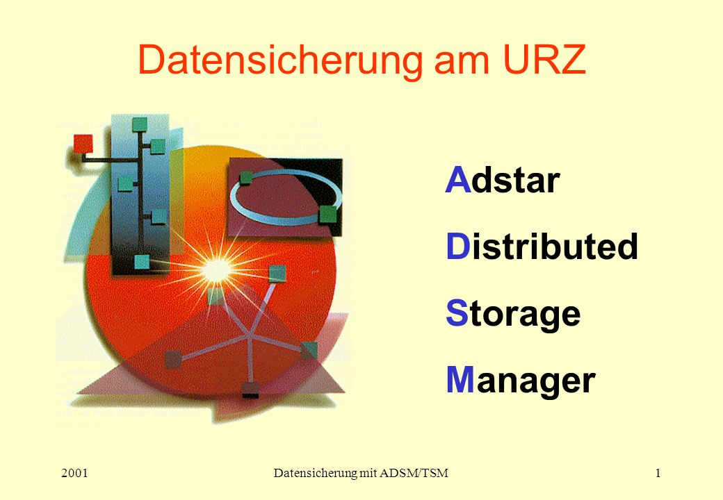 2001Datensicherung mit ADSM/TSM1 Datensicherung am URZ Adstar Distributed Storage Manager