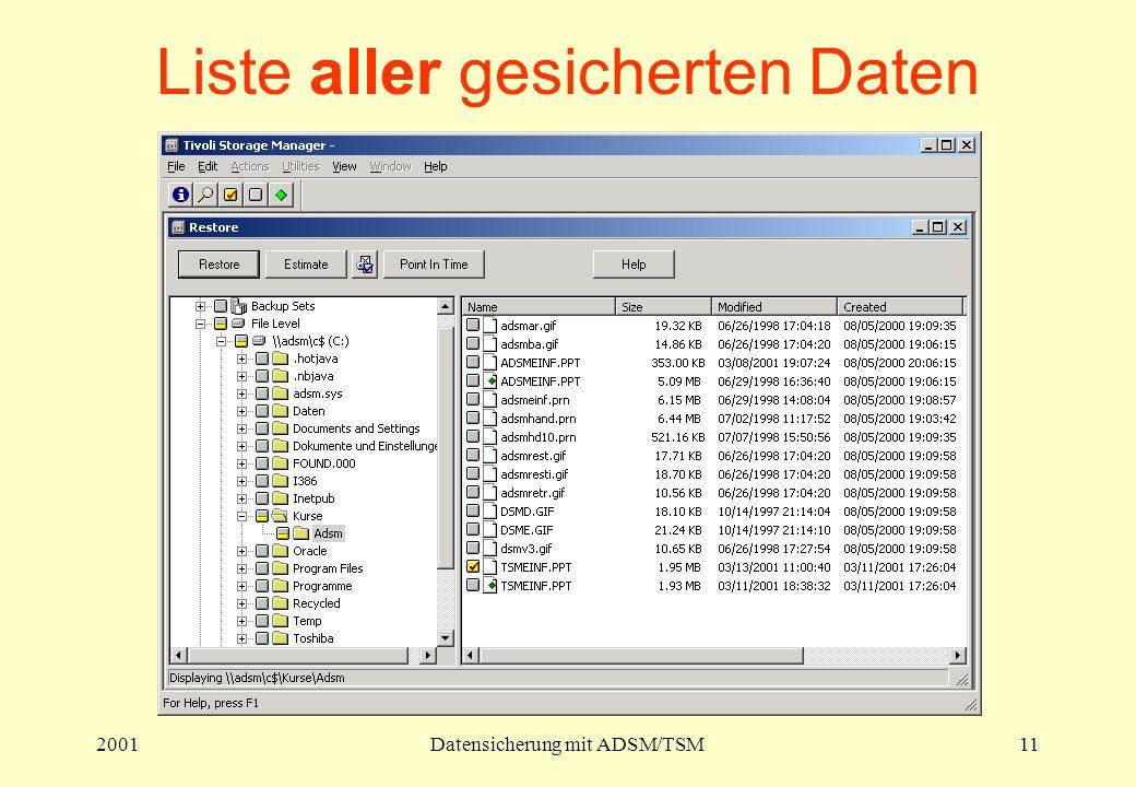 2001Datensicherung mit ADSM/TSM11 Liste aller gesicherten Daten