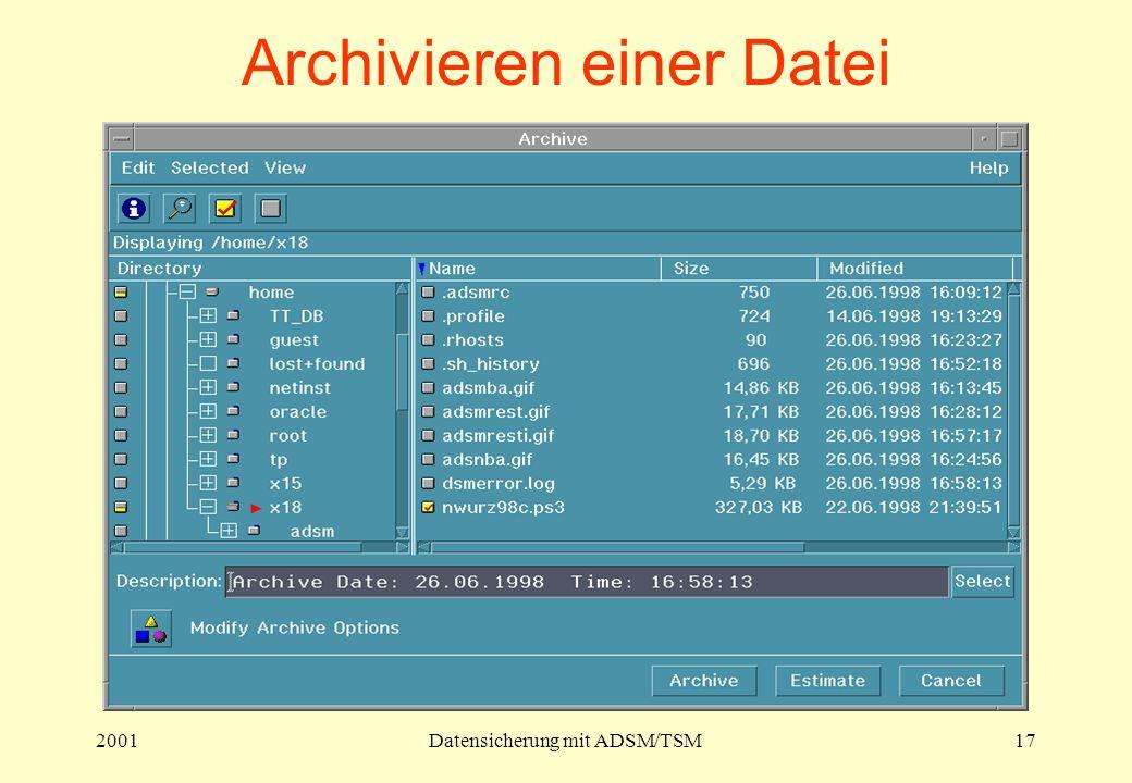 2001Datensicherung mit ADSM/TSM17 Archivieren einer Datei