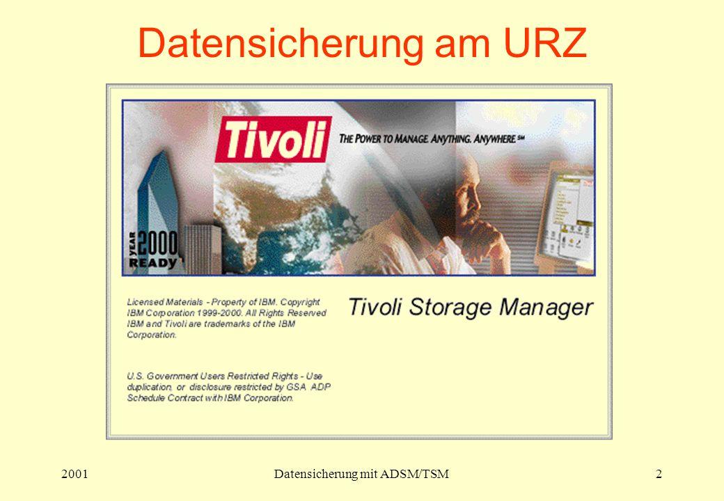 2001Datensicherung mit ADSM/TSM2 Datensicherung am URZ