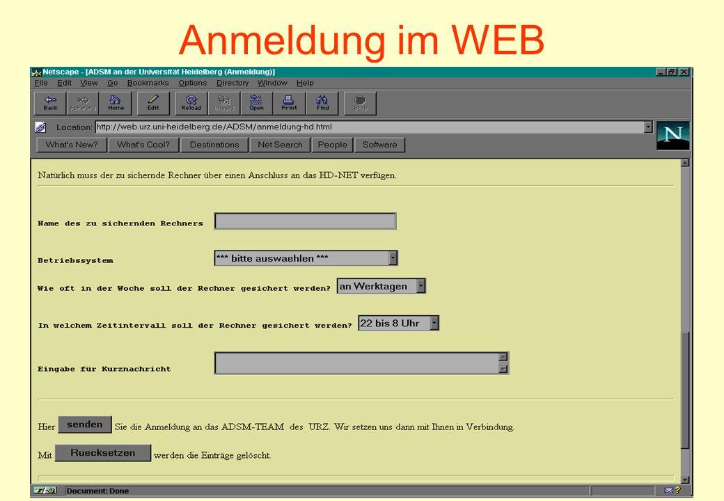 2001Datensicherung mit ADSM/TSM29 Anmeldung im WEB
