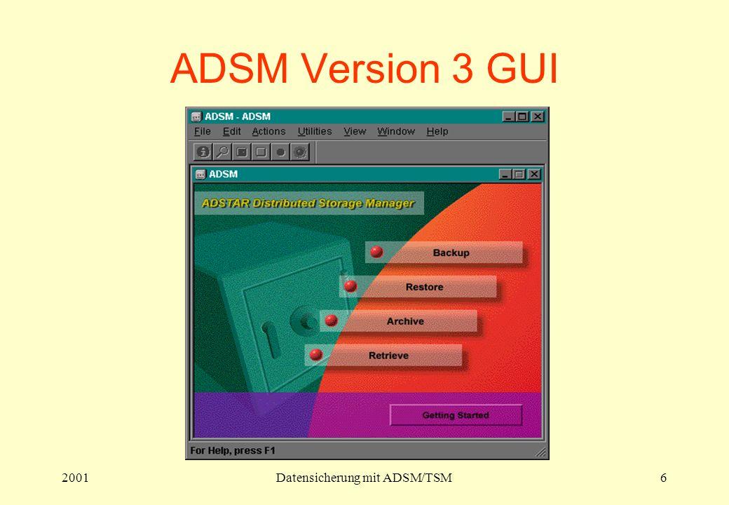2001Datensicherung mit ADSM/TSM6 ADSM Version 3 GUI