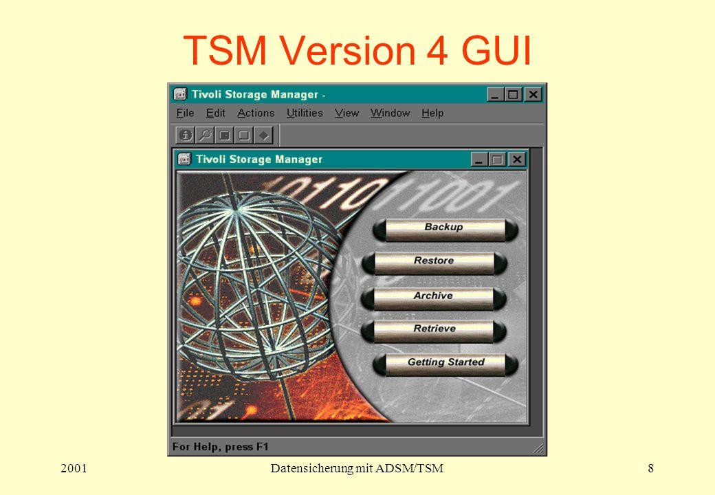 2001Datensicherung mit ADSM/TSM8 TSM Version 4 GUI