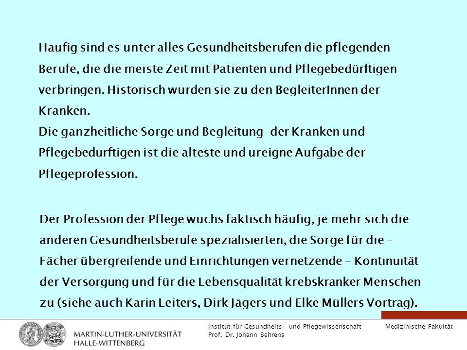 Medizinische Fakultät Institut für Gesundheits- und Pflegewissenschaft Prof. Dr. Johann Behrens Häufig sind es unter alles Gesundheitsberufen die pfle