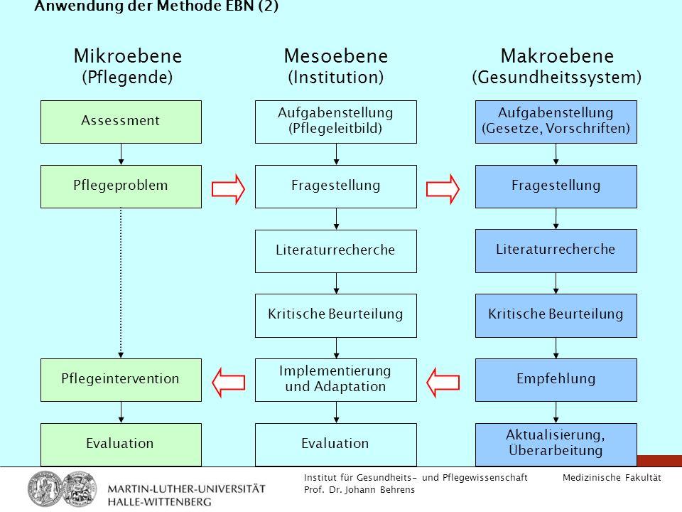 Medizinische Fakultät Institut für Gesundheits- und Pflegewissenschaft Prof. Dr. Johann Behrens Anwendung der Methode EBN (2) Assessment Pflegeproblem