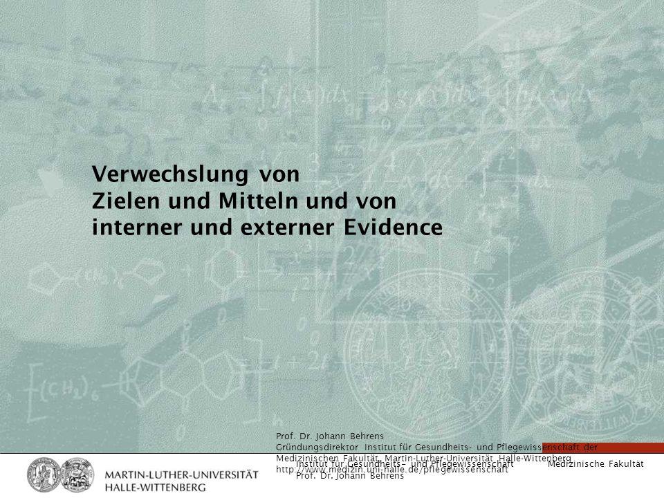 Medizinische Fakultät Institut für Gesundheits- und Pflegewissenschaft Prof. Dr. Johann Behrens Verwechslung von Zielen und Mitteln und von interner u