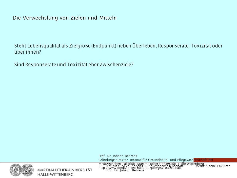 Medizinische Fakultät Institut für Gesundheits- und Pflegewissenschaft Prof. Dr. Johann Behrens Die Verwechslung von Zielen und Mitteln Steht Lebensqu