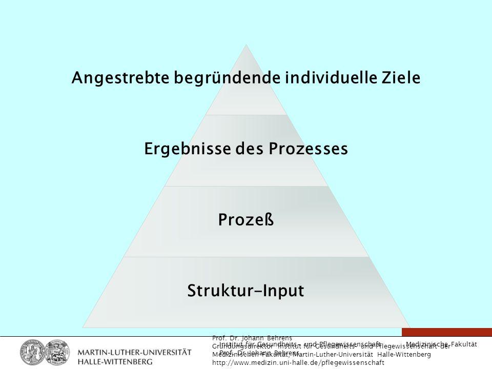 Medizinische Fakultät Institut für Gesundheits- und Pflegewissenschaft Prof. Dr. Johann Behrens Angestrebte begründende individuelle Ziele Ergebnisse