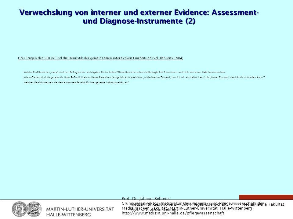 Medizinische Fakultät Institut für Gesundheits- und Pflegewissenschaft Prof. Dr. Johann Behrens Verwechslung von interner und externer Evidence: Asses