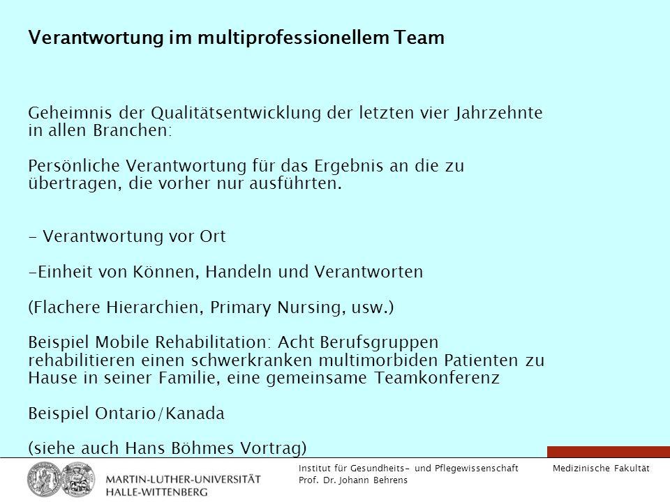 Medizinische Fakultät Institut für Gesundheits- und Pflegewissenschaft Prof. Dr. Johann Behrens Verantwortung im multiprofessionellem Team Geheimnis d