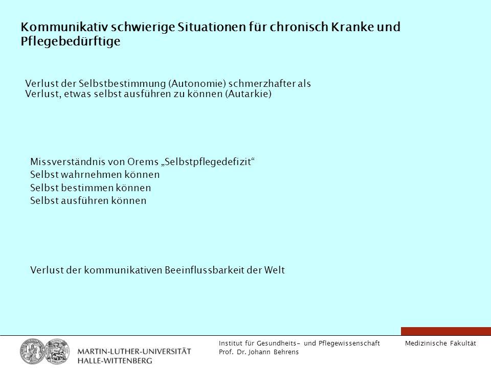 Medizinische Fakultät Institut für Gesundheits- und Pflegewissenschaft Prof. Dr. Johann Behrens Kommunikativ schwierige Situationen für chronisch Kran