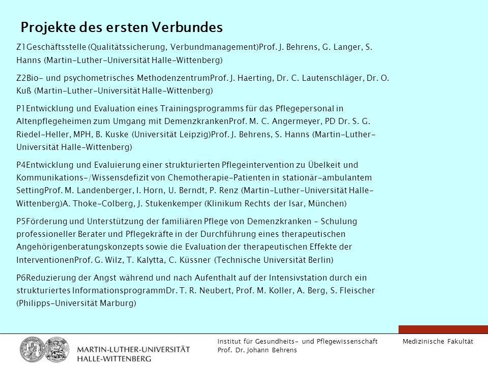 Medizinische Fakultät Institut für Gesundheits- und Pflegewissenschaft Prof. Dr. Johann Behrens Projekte des ersten Verbundes Z1Geschäftsstelle (Quali