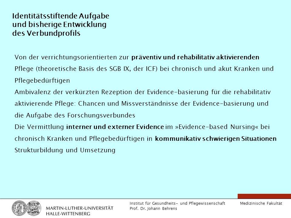 Medizinische Fakultät Institut für Gesundheits- und Pflegewissenschaft Prof. Dr. Johann Behrens Identitätsstiftende Aufgabe und bisherige Entwicklung