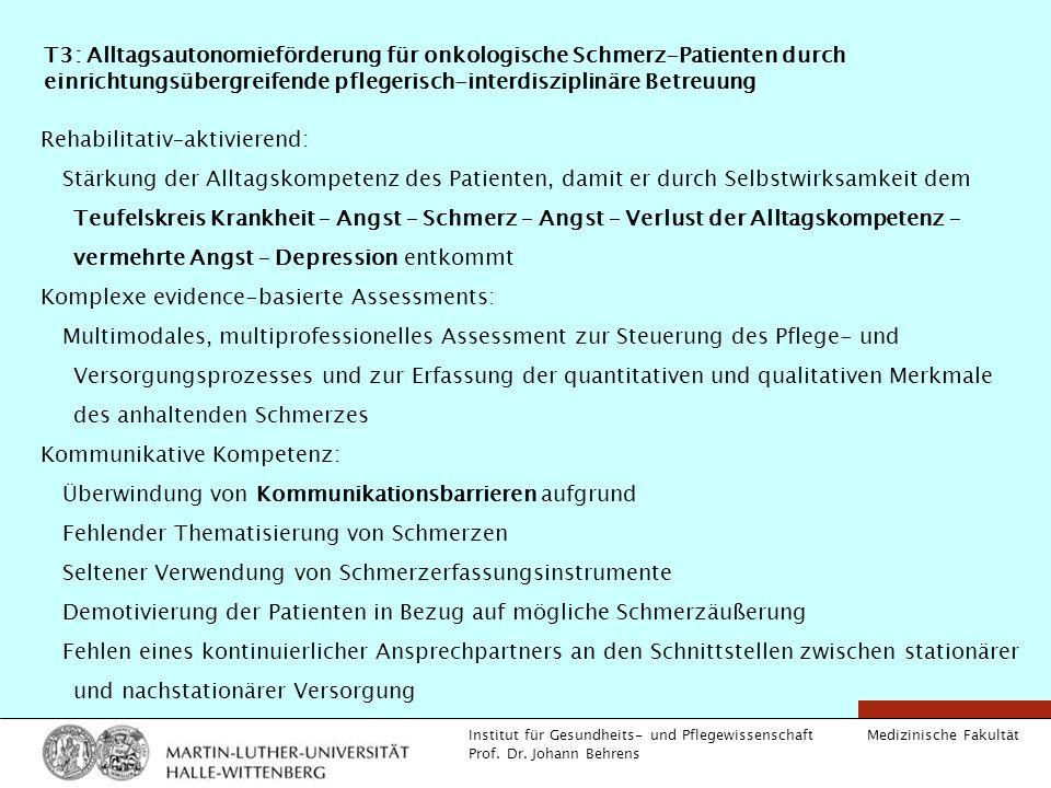 Medizinische Fakultät Institut für Gesundheits- und Pflegewissenschaft Prof. Dr. Johann Behrens T3: Alltagsautonomieförderung für onkologische Schmerz