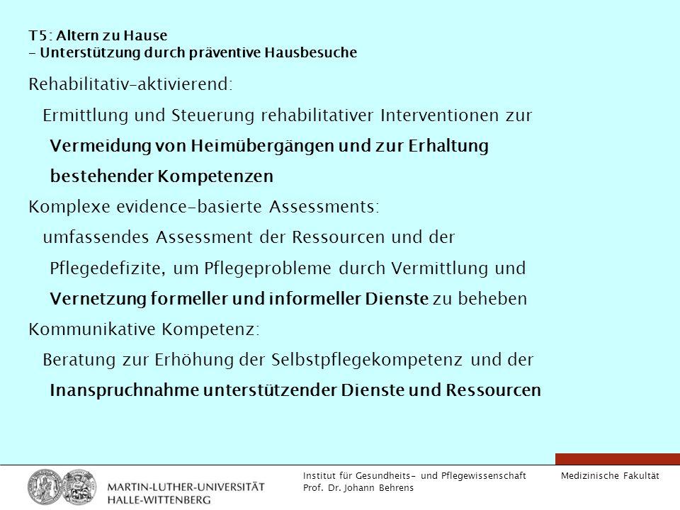 Medizinische Fakultät Institut für Gesundheits- und Pflegewissenschaft Prof. Dr. Johann Behrens T5: Altern zu Hause – Unterstützung durch präventive H