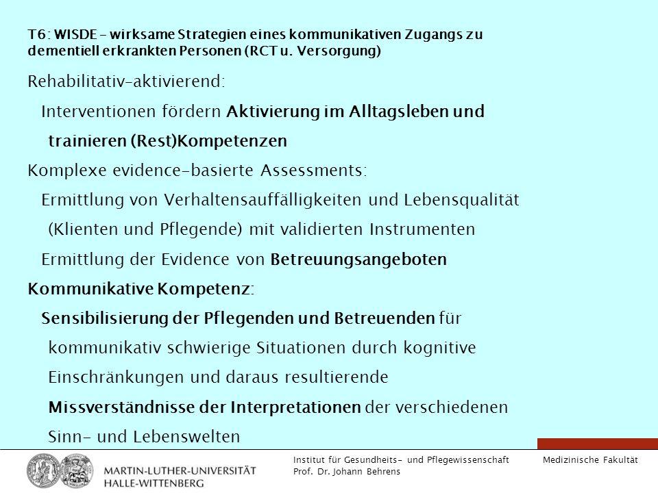 Medizinische Fakultät Institut für Gesundheits- und Pflegewissenschaft Prof. Dr. Johann Behrens T6: WISDE – wirksame Strategien eines kommunikativen Z